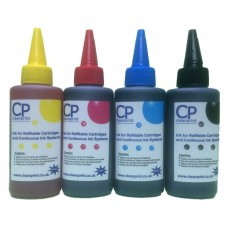 4 Colour Set of CleanPrint Universal Dye Ink for Epson 4 Clr Printers -  4 x 100ml Bottles.