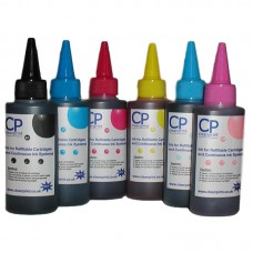 6 Colour Set of CleanPrint Universal Dye Ink for Epson 6 Clr Printers - 6 x 100ml Bottles.