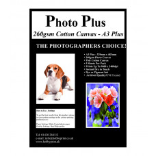 Photo Plus Printable Poly-Cotton Canvas A3 Plus 260gsm, 5 Sheets.